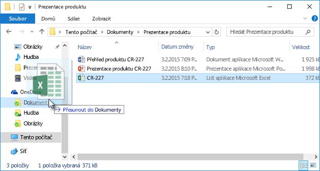 Přetažení souborů na OneDrive