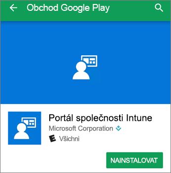 Snímek obrazovky s tlačítkem pro instalaci portálu společnosti Intune v obchodě Google Play