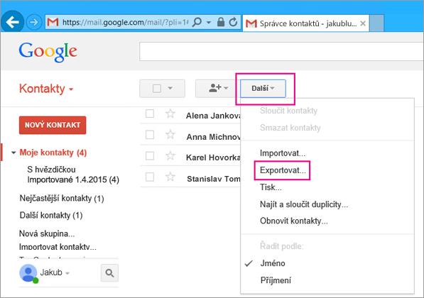 Pokud chcete importovat kontakty z Gmailu do Office 365, zvolte v Gmailu Kontakty, Další, Export.