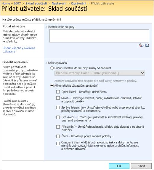 Dialogové okno Přidat uživatele