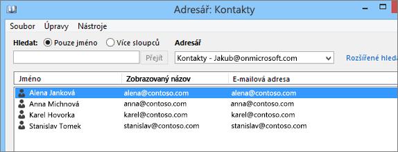 Až se kontakty naimportují z Google Gmailu do Office 365, uvidíte je v Adresáři. Kontakty