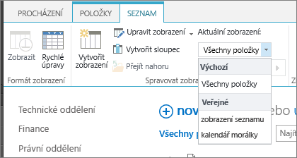 Rozevírací seznam se zobrazením aktuálního seznamu