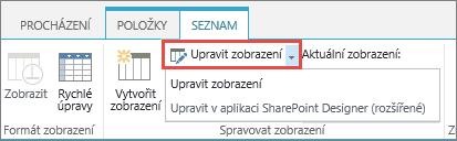 Úprava tlačítko zobrazení pomocí rozevíracího seznamu otevřít