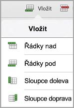 iPad – nabídka Vložit tabulku