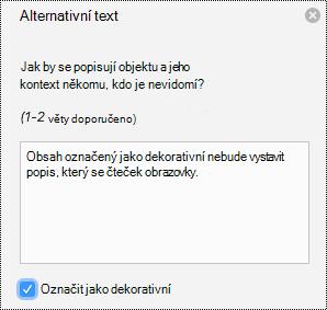 Obrázek s popisem alternativního textu v PowerPointu pro Mac v Office 365