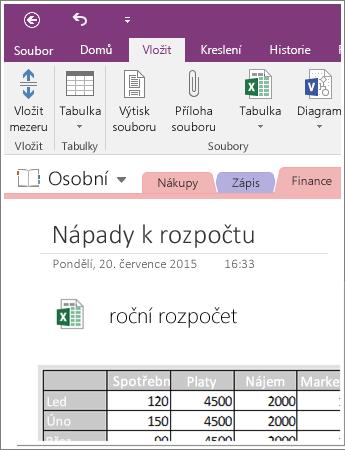 Snímek obrazovky s tabulkou vloženou v OneNotu 2016