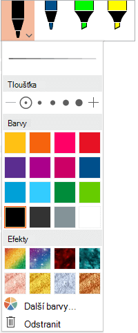 Možnosti pro barvu a tloušťku pera v galerii per Office na kartě Kreslení