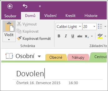 Snímek obrazovky pro přidání název stránky na stránku ve Onenotu 2016