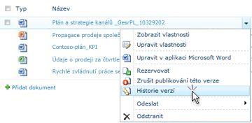 Rozevírací seznam SharePointového souboru Je vybraná Historie verzí.