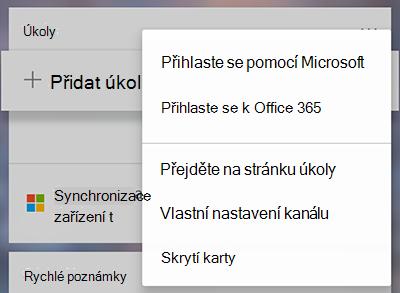 Snímek obrazovky s možností přihlásit pomocí účtu Microsoft nebo Office 365 další karty úkoly nabídka Další