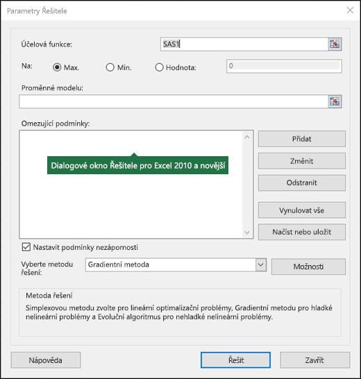 Obrázek dialogového okna Řešitel v Excelu 2010