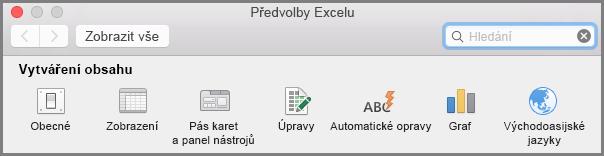 Office 2016 pro Mac: Pás karet, Předvolby panelu nástrojů