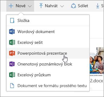Snímek obrazovky s postupem vytvoření souboru nebo složky na OneDrivu