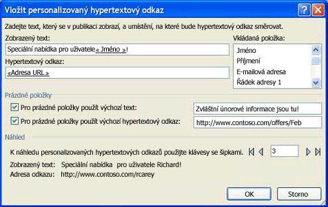 Obrázek dialogového okna Vložit individuální hypertextový odkaz