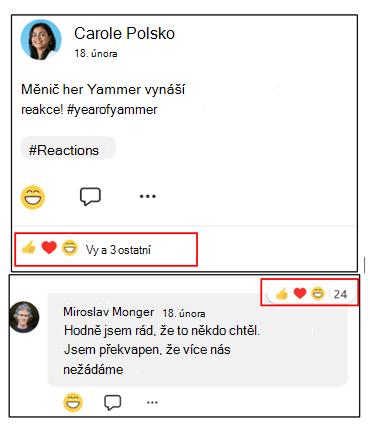 Snímek obrazovky znázorňující, jak zjistit, které konverzace mají nejvíce reakcí na mobilní aplikaci Yammer