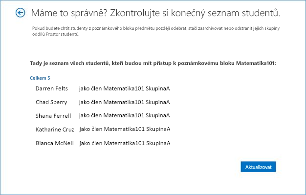 Snímek obrazovky výsledného seznamu studentů