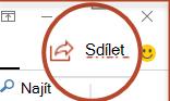 Tlačítko sdílet v PowerPointu 2016