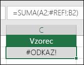 Excel chybu #ODKAZ! zobrazí, když odkaz na buňku není platný.