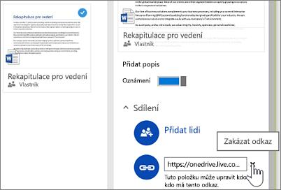 Snímek obrazovky, který zobrazuje zakázání odkazu vpodokně podrobností scílem ukončit sdílení položky
