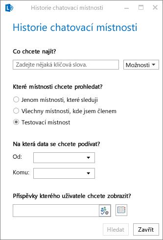 Snímek obrazovky sdialogovým oknem pro procházení historie chatovací místnosti