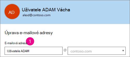 Snímek obrazovky pole e-mailovou adresu profilu v Office 365