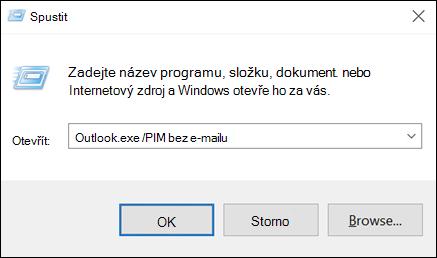 Dialogové okno spustit slouží k vytvoření profilu bez e-mailu
