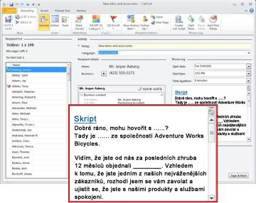 Seznam volání s oddílem skriptu a červeným ohraničením výřezu oddílu skriptu