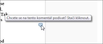 Obrázek bubliny s komentářem ve Word Web Appu