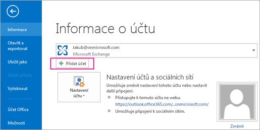 Přidejte do Outlooku účet Gmail tak, že kliknete na tlačítko Přidat účet.