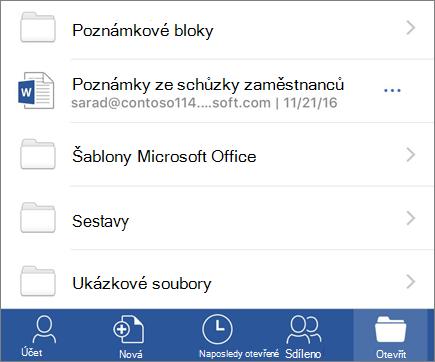 Otevírání dokumentů v aplikaci Word Mobile pro iOS