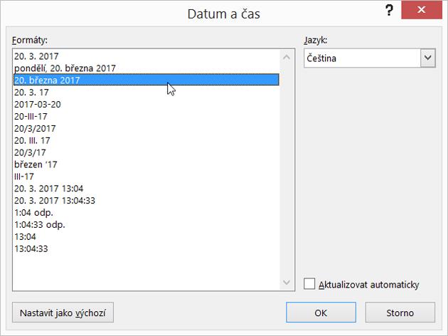 Dialogové okno data a času