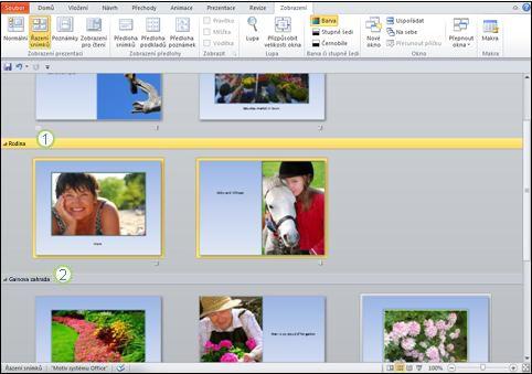 Oddělení různých typů obsahu pomocí oddílů