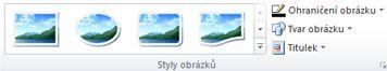 Skupina Styly obrázků na kartě Nástroje obrázku v aplikaci Publisher 2010