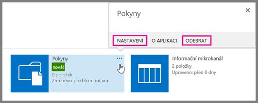 Pokud chcete knihovnu dokumentů přejmenovat nebo odebrat, klikněte na tlačítko se třemi tečkami.