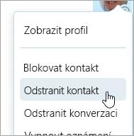 Snímek obrazovky s možností Odstranit kontakt v místní nabídce skypového kontaktu