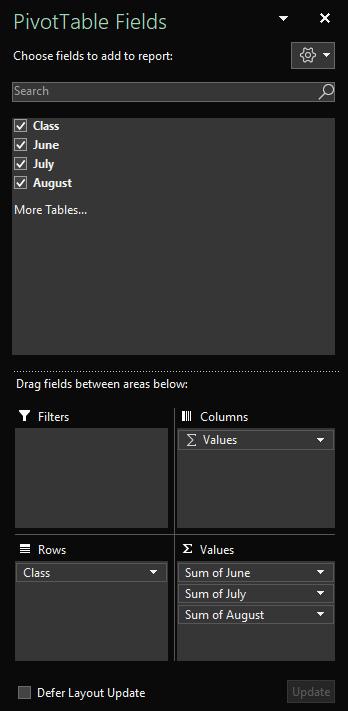 Podokno polí kontingenční tabulky otevřené v Excelu pro Windows zobrazující vybraná pole tabulky