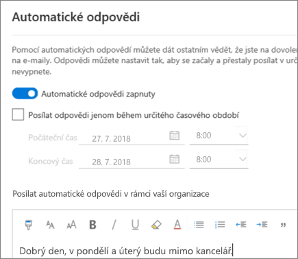 Vytvoření automatické odpovědi (Mimo kancelář) v Outlooku na webu