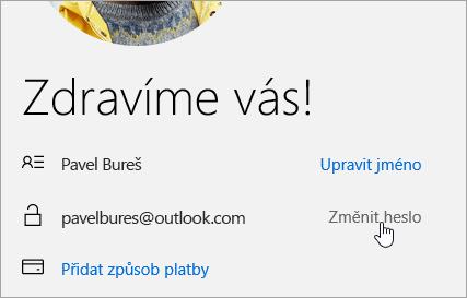 Snímek obrazovky s tlačítkem Změnit heslo