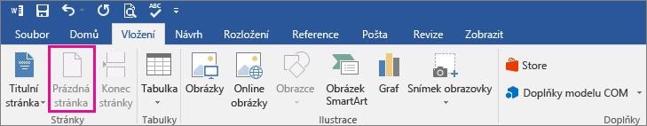 Na kartě Vložení je zvýrazněná ikona Prázdná stránka.