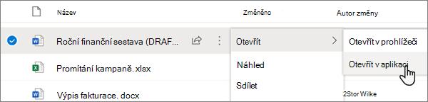 Vybraná možnost otevřít > otevřít v aplikaci pro soubor Wordu na portálu OneDrive online