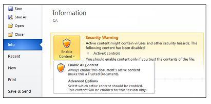 Upozornění zabezpečení, dokument se stane důvěryhodným