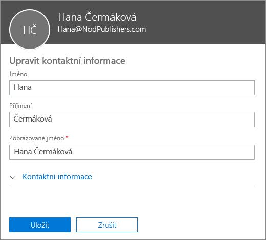 Podokno pro úpravy kontaktu, kde můžete zadat nové jméno, příjmení a zobrazované jméno
