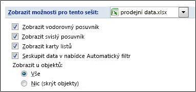 Zaškrtávací políčko Zobrazit karty listů v dialogu Možnosti aplikace Excel