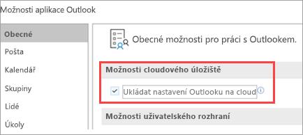 Zobrazení možností nastavení Outlooku