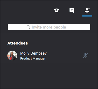 Skype pro firmy pro Mac – okno schůzky zobrazující účastníky