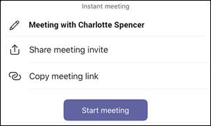 Možnosti okamžité schůzky v iOS