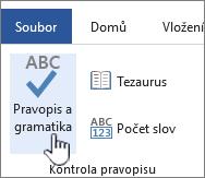 Tlačítko kontroly pravopisu a gramatiky na pásu karet Revize