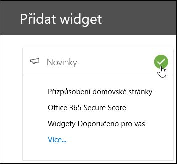 Snímek obrazovky s rozevírací přidat widgety v zabezpečení a dodržování předpisů zarovnat na střed