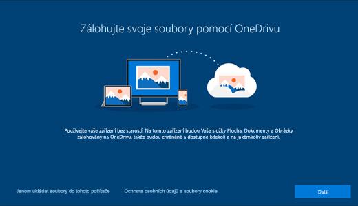 Snímek obrazovky se stránkou OneDrivu, která se objeví, když se poprvé použije Windows 10