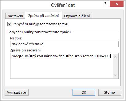 Nastavení na kartě Zpráva při zadávání v dialogovém okně Ověření dat